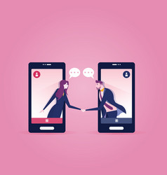 Two business people inside a smart phone meeting vector