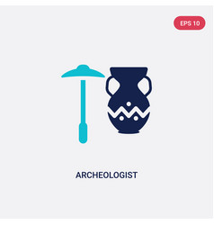 Two color archeologist icon from history concept vector