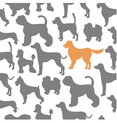Unusual seamless pattern with dog silhouettes set vector