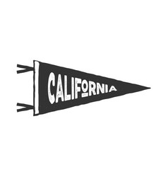 Vintage hand drawn pennant template california vector