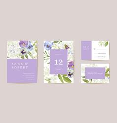 wedding violet pansy floral save date set vector image