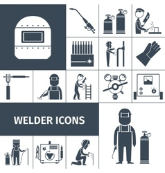 Welder Icons Black Set vector image