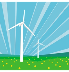 Wind turbines and blue sky vector