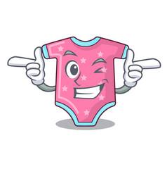 Wink cartoon baby clothes on hanger rack vector