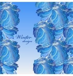 Winter frozen glass background Stripe border vector