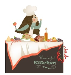 Woman cooking in the kitchen vector image vector image
