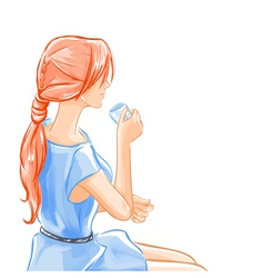 woman sits and drinks beverage tea vector image