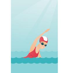Young caucasian sportswoman swimming vector