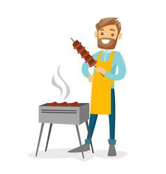Young caucasian white man cooking shashlik vector