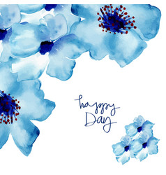greeting card with flowers in watercolor vector image