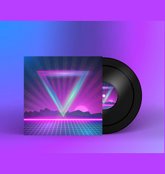 Retro Vinyl Record 1980s Style Cover with Neon vector image