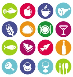 Set or restaurant icons and food vector