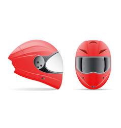 high quality red motorcycle helmet front and side vector image vector image