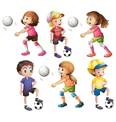 Kids playing volleyball and football vector image vector image