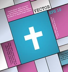 Religious cross christian icon sign modern flat vector