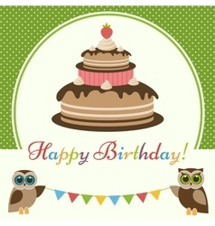 Birthday card with cake and cute owls vector image vector image