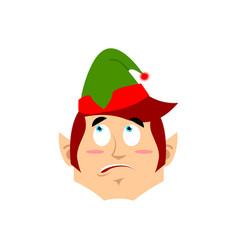 christmas elf surprised emoji santa helper vector image