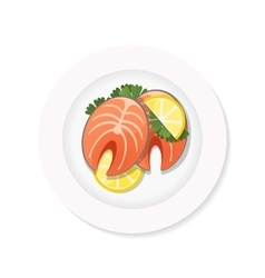 salmon steak on a plate vector image vector image