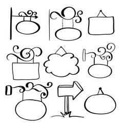 set of hand-drawn doodle signboards on a white vector image vector image