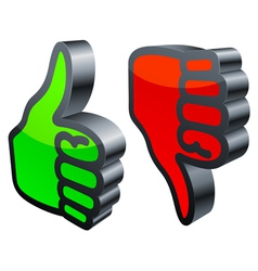 Thumbs up and down vector