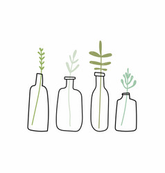 a collection of doodle plants in pots vector image