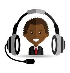 afroamerican man headphones for support vector image