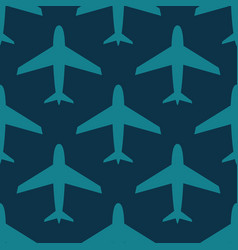 airplane seamless pattern blue on dark vector image