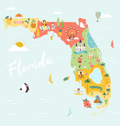 An map florida with destinations vector