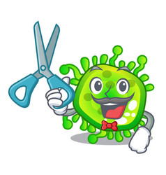 Barber character microbe bacterium on palm vector