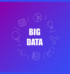 big data background from line icon vector image