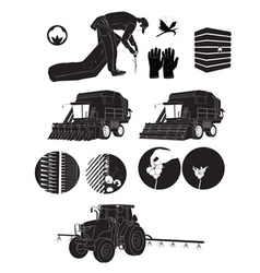 Black silhouette icons cotton farmers and farm vector