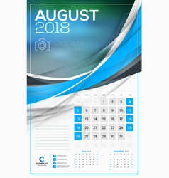 Calendar template for 2018 year august design vector
