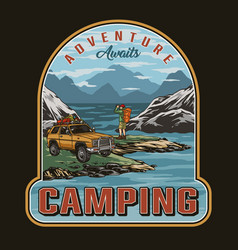 Camping colorful vintage print vector