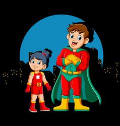 Cartoon superhero man and his daughter vector