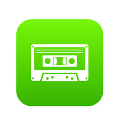 cassette tape icon digital green vector image