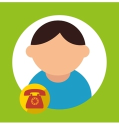 Character call service delivery icon vector
