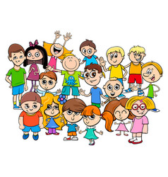 children characters group cartoon vector image
