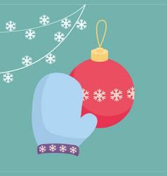 christmas glove design vector image