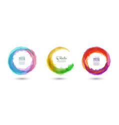 Circle splash colorful watercolor set vector
