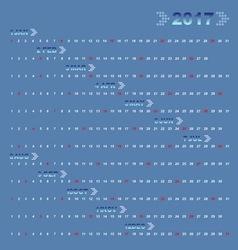 Classic blue 12 months of 2017 calendar vector