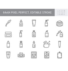 Cleanser cosmetic line icons vector