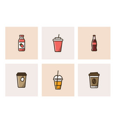 colorful icons of takeaway drinks vector image