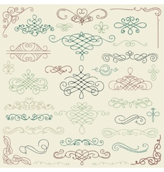 Colorful Vintage Hand Drawn Swirls vector image