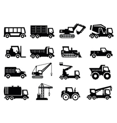 Construction transport icons vector