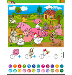 Counting and adding task with cartoon farm animals vector