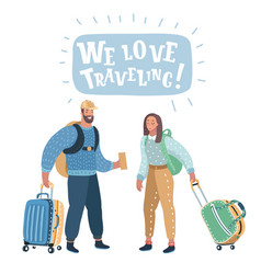 couple with travel bag ready to travel vector image
