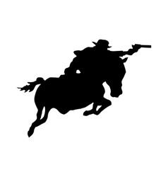Cowboy silhouette black vector