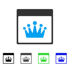 Crown calendar page flat icon vector