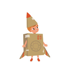 cute little boy in a cardboard costume of airplane vector image