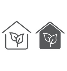 Eco house line and glyph icon real estate vector
